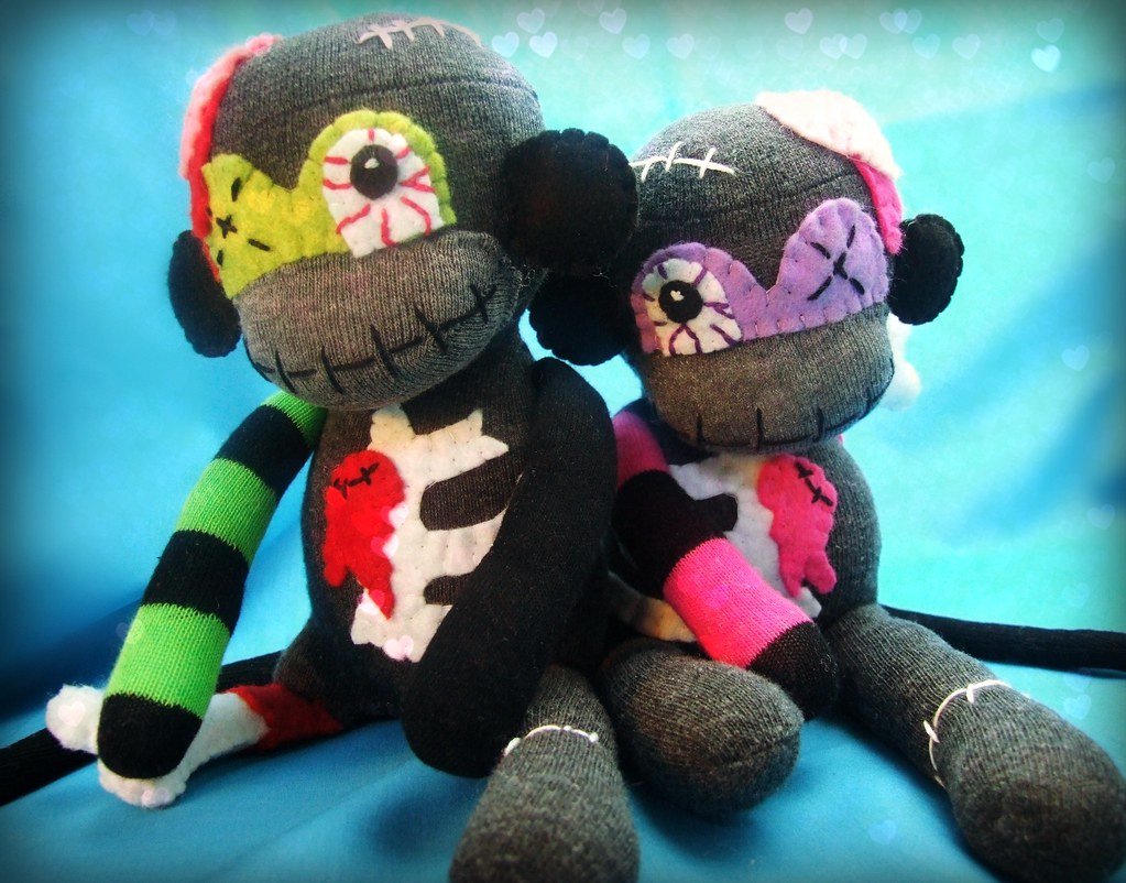 george and georgina the zombie sock monkey monsters. my bl… | flickr