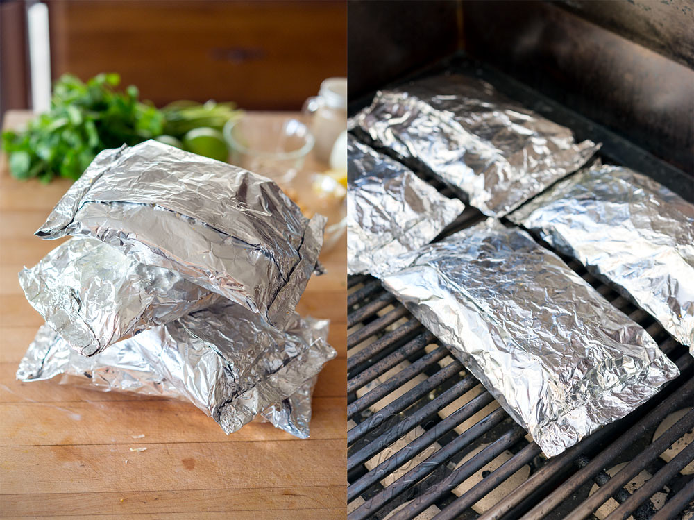 foil packets on a grill