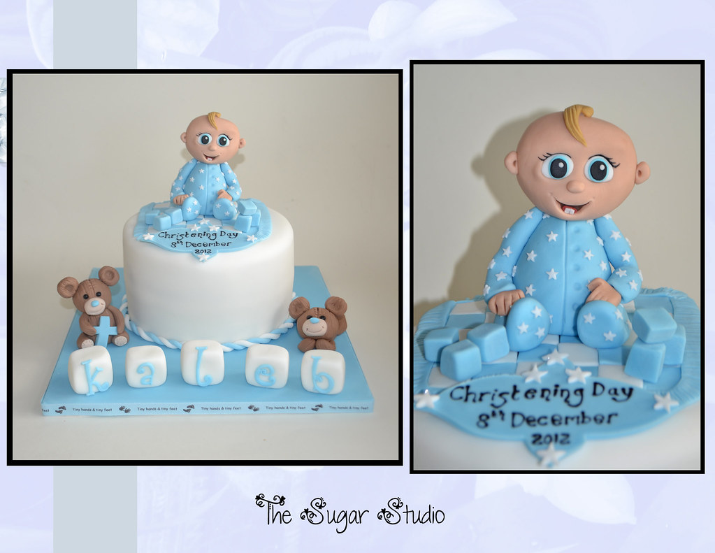 Baby boys christening cake with handmade baby cake topper ...