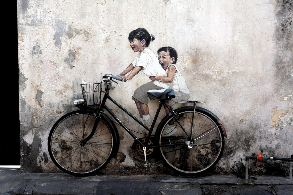 Children on a Bicycle | Wall murals by Ernest Zacharevic in ...