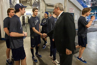 Meeting the Saskatoon Blades, wishing them luck in tying a franchise record tonight - going for #13inarow! | by PM Stephen Harper