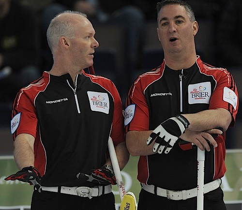 Edmonton Ab.Mar5,2013.Tim Hortons Brier.Ontario skip Glenn Howard,third Wayne Middaugh.CCA/michael burns photo | by seasonofchampions