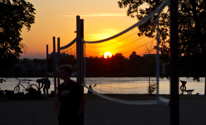 volleyball net at sunset
