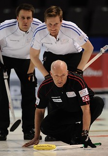 Penticton B.C.Jan12_2013.World Financial Group Continental Cup.Team North America skip Glenn Howard.Team World lead Victor Kjall,second Frederick Lindberg.CCA/michael burns photo | by seasonofchampions