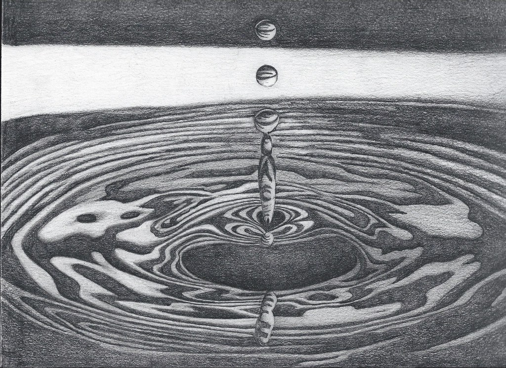 how to draw water with graphite pencil