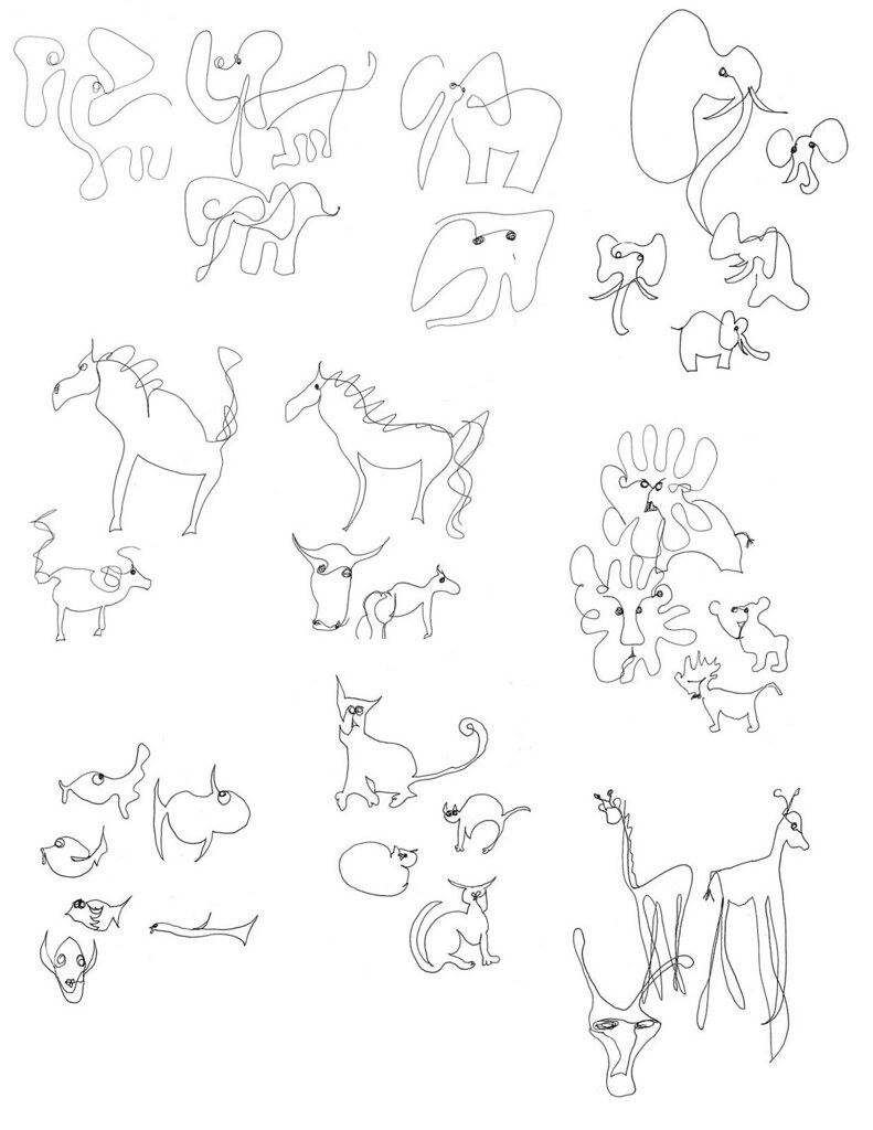Single Line Drawings Of Animals : Day drawing one line animals