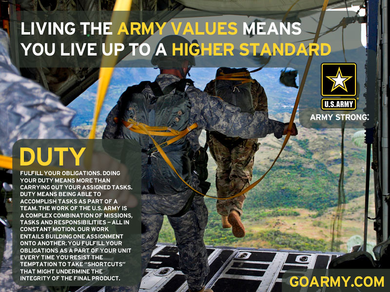 army value duty essay The army values are loyalty, duty, respect, selfless service, honor, integrity  and personal courage this essay will cover what the seven.