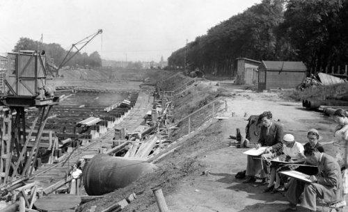 Maastunnel bouw 8 maart 1938