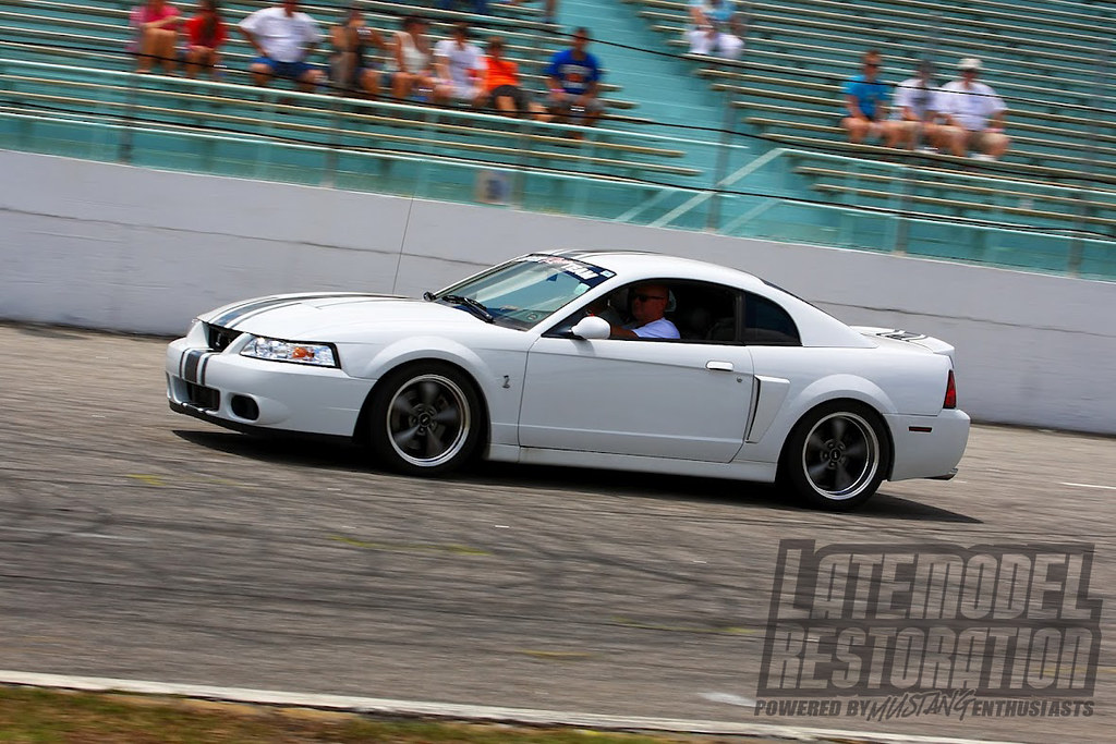 White Cobra On Bullitt Wheels At The Track At Mustang Week