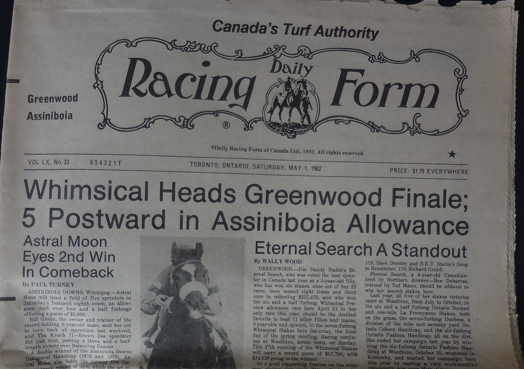 Greenwood Daily Racing Form 1982 | The Racetrack Opened In 1u2026 | Flickr