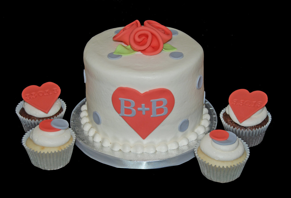 coral and gray bridal shower cupcake tower by sweet shoppe mom and simply sweets