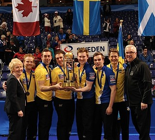 Victoria B.C.April 7,2013.Ford Men's World Curling Championship.Sweden skip Niklas Edin,third Sebastian Kraupp,second Fredrik Lindberg,lead Viktor Kjall.CCA/michael burns photo | by seasonofchampions