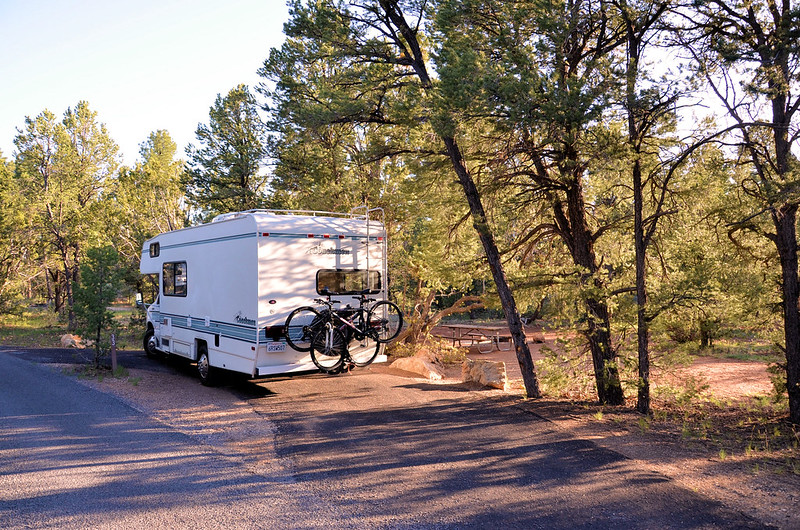Mather Campground Drive-through Site. - No hook-ups. - 30-foot trailer or RV maximum. Open year-round. Operated by the National Park Service and located in Grand Canyon Village,