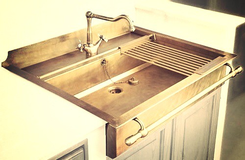 a brass kitchen sink by blue tea kitchens - Brass Kitchen Sinks