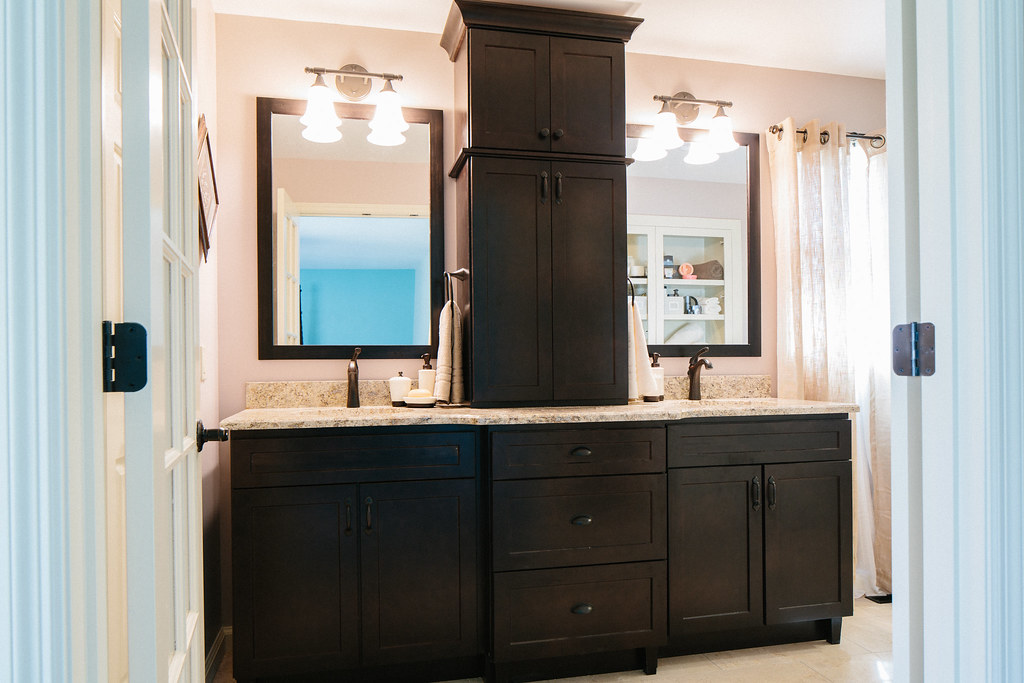 Custom Double Vanity With Center Tower Redbud
