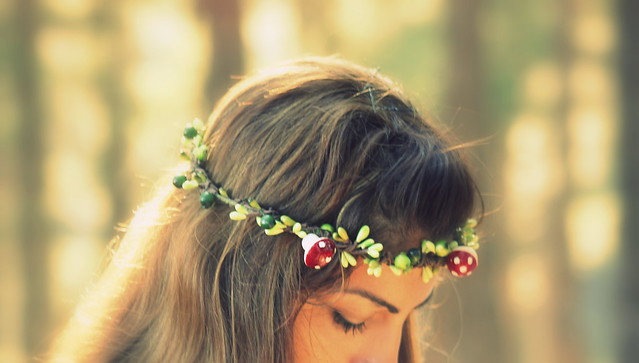 WOODLAND FAIRY WREATH- Headpiece Tiara with mushrooms, green berries, headband, crown, halo, tiara, forest
