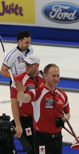 Victoria B.C.April 6,2013.Ford Men's World Curling Championship.Canada skip Brad Jacobs,lead E.J.Harnden.Scotland skip David Murdoch.CCA/michael burns photo | by seasonofchampions