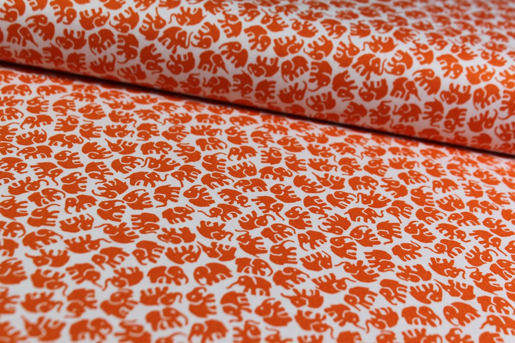"Baumwollstoff ""Little Elephants"", orange"