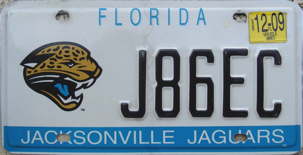 ... Jacksonville Jaguars License Plate (Florida) Football NFL | By Sukou0027s License  Plates
