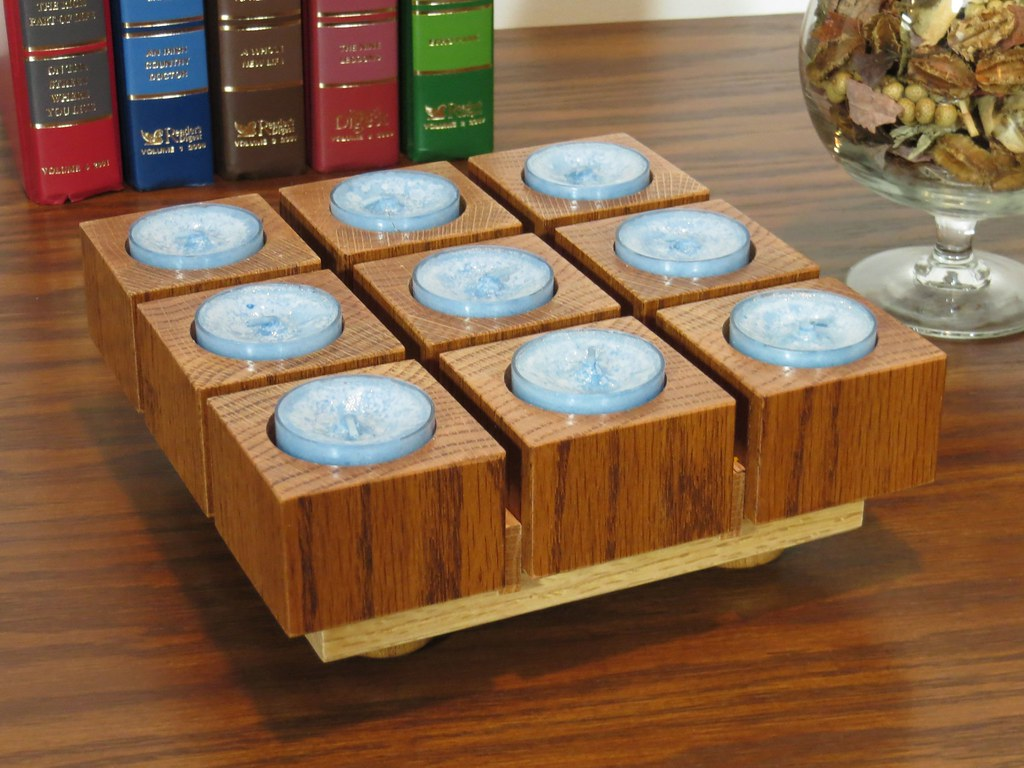 Wooden candle centerpiece tea light holder this