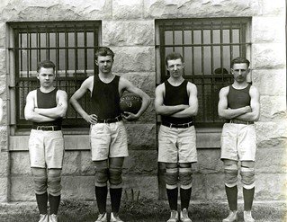 St. Procopius College basketball team members in front of Benedictine Hall, c. Fall 1918 | by Benedictine University