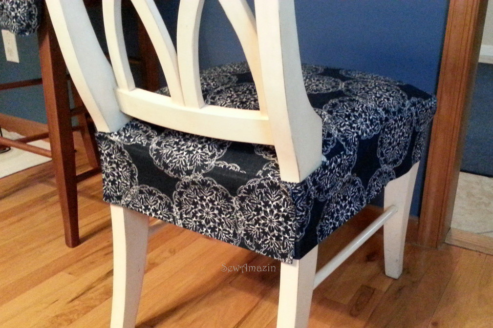 Dining Kitchen Chair Seat Cover Back View Finished