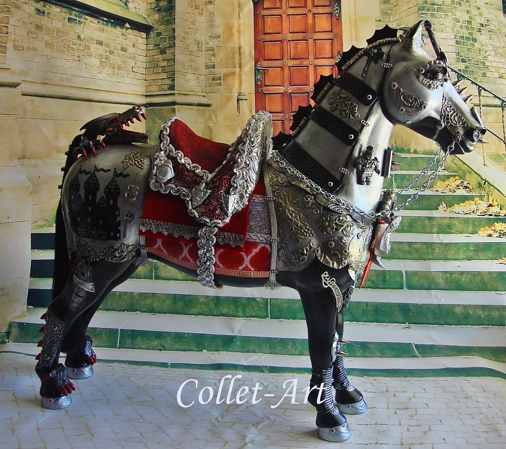"OOAK ALTERED ART STEAMPUNK MEDIEVAL KNIGHT WAR HORSE ""DEST"