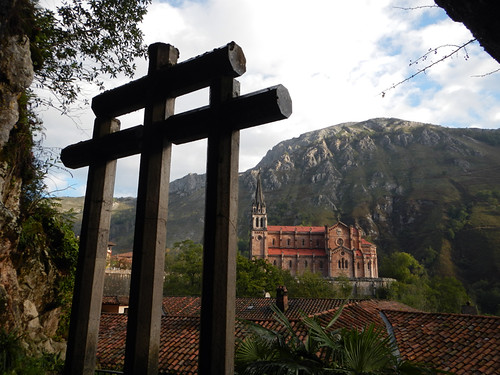 A view of the Covadonga church from the shrine