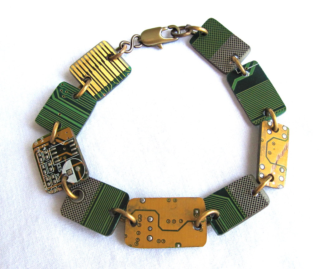 Groovy Garbage Upcycled Circuit Board Bracelet Je Necklace By