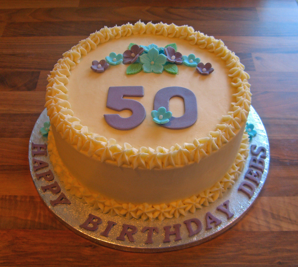 50th Birthday Flower Cake 8 Inch Round Buttercream Iced Sp Flickr