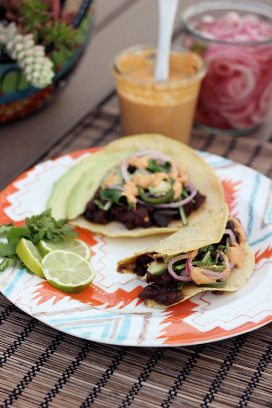 Slow-Cooked Black Bean Tacos with Vegan Chipotle Cream {Gluten-free + Vegan}
