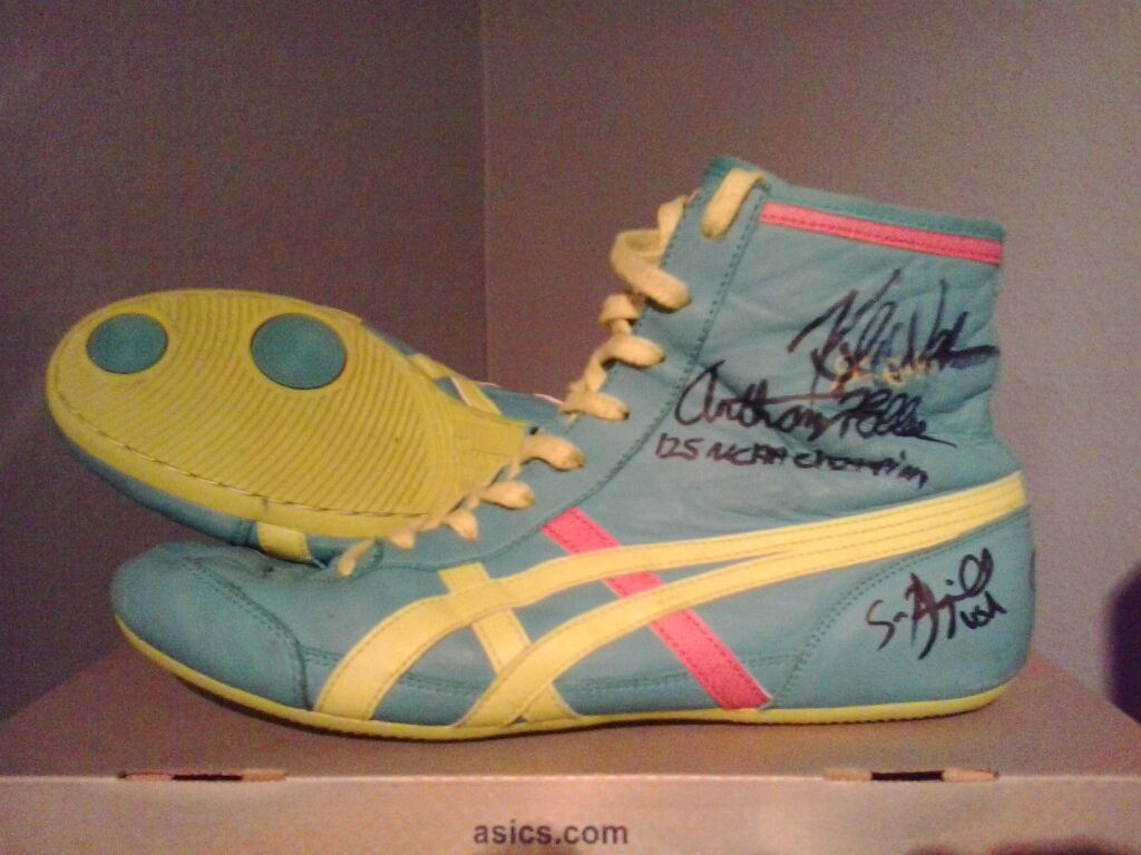 Signed Dan Gable Throwback Wrestling Shoes | LBN Pink and te… | Flickr