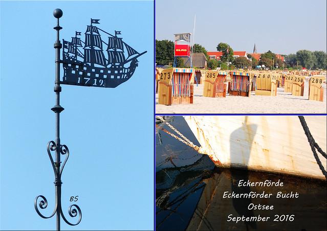 Ostseebad Eckernförde Ostsee Eckernförder Bucht Altstadt Strand Hafen Bonbonkocherei - Fotos und Collagen: Brigitte Stolle, September 2016