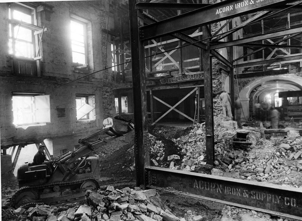 Construction equipment inside the white house ca 1950 for Inside house photos