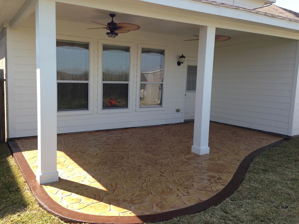 ... Texas_Custom_Patios Simple Patio Cover And Stamped Concrete | By  Texas_Custom_Patios