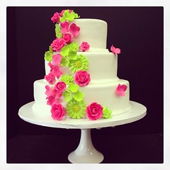 Pink & Lime Green wedding cake | A design brought to me by a… | Flickr