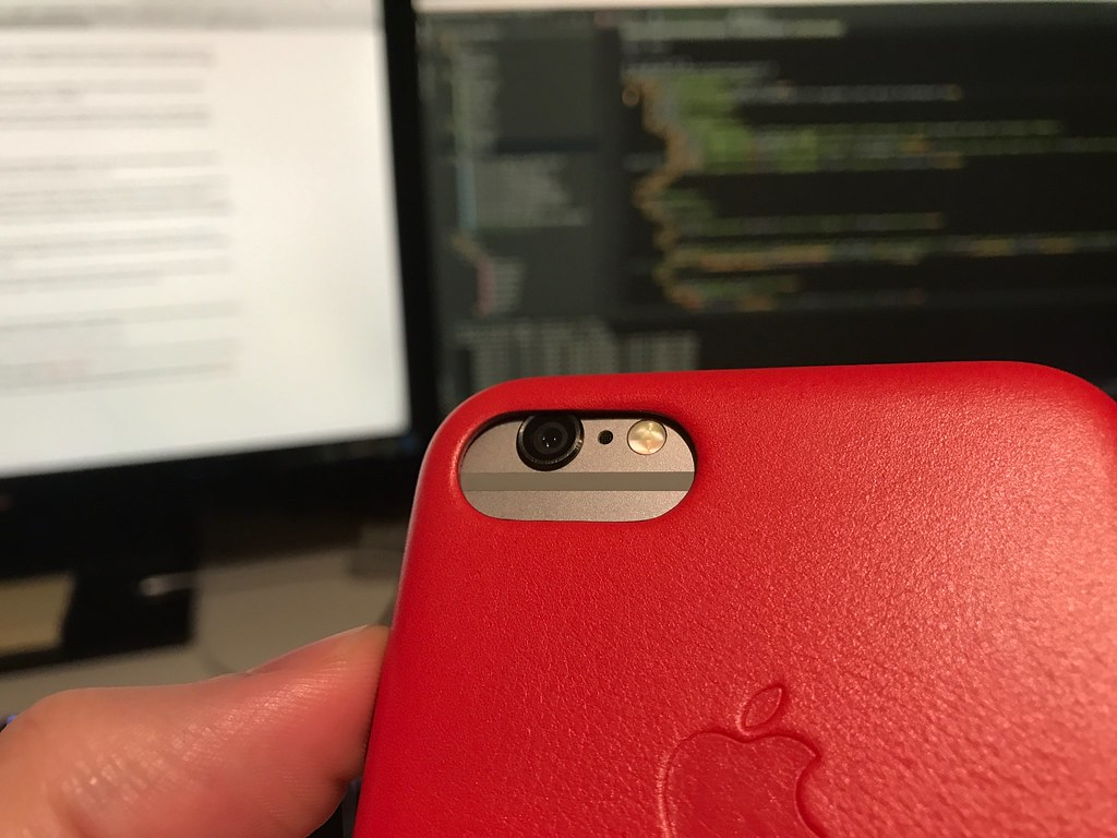 iPhone 7 Leather Case on an iPhone 6