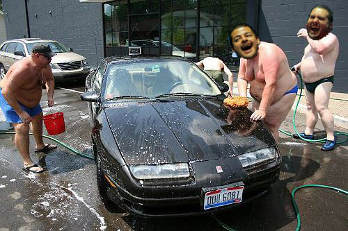 Fat Hairy Men In Speedos Washing Car Bilbomarks Flickr
