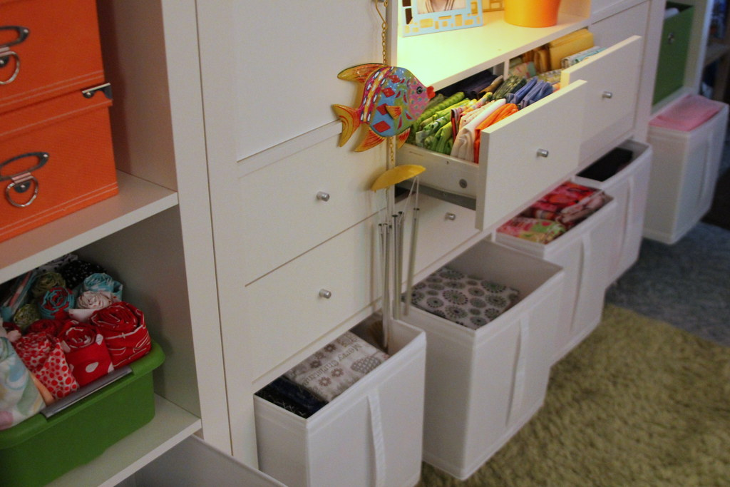 sewing studio using ikea expedit shelving units skubb box flickr. Black Bedroom Furniture Sets. Home Design Ideas