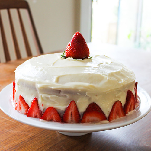 White Layer Cake With Strawberry Filling