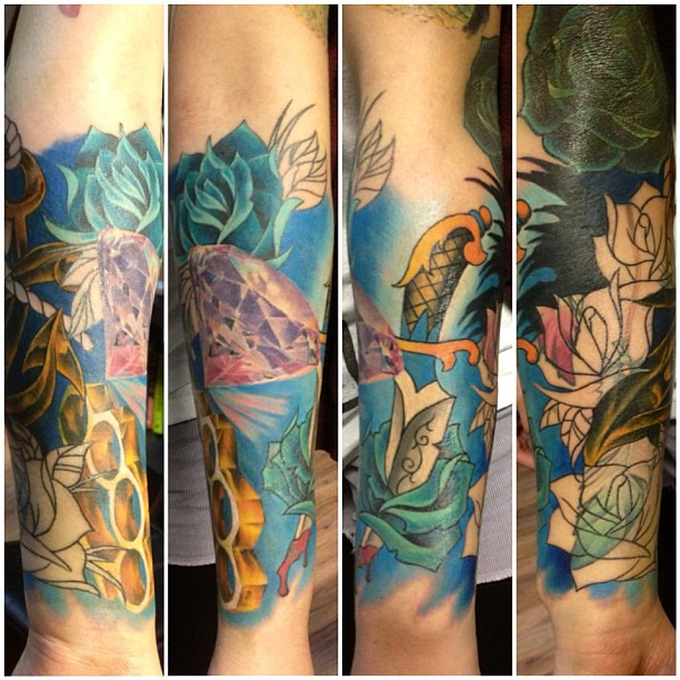 A traditional realistic coverup sleeve tattoo the for Upper arm half sleeve tattoos