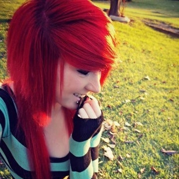 #scene #beautiful #emo #girl #pretty #hair #red #cute #eye ...