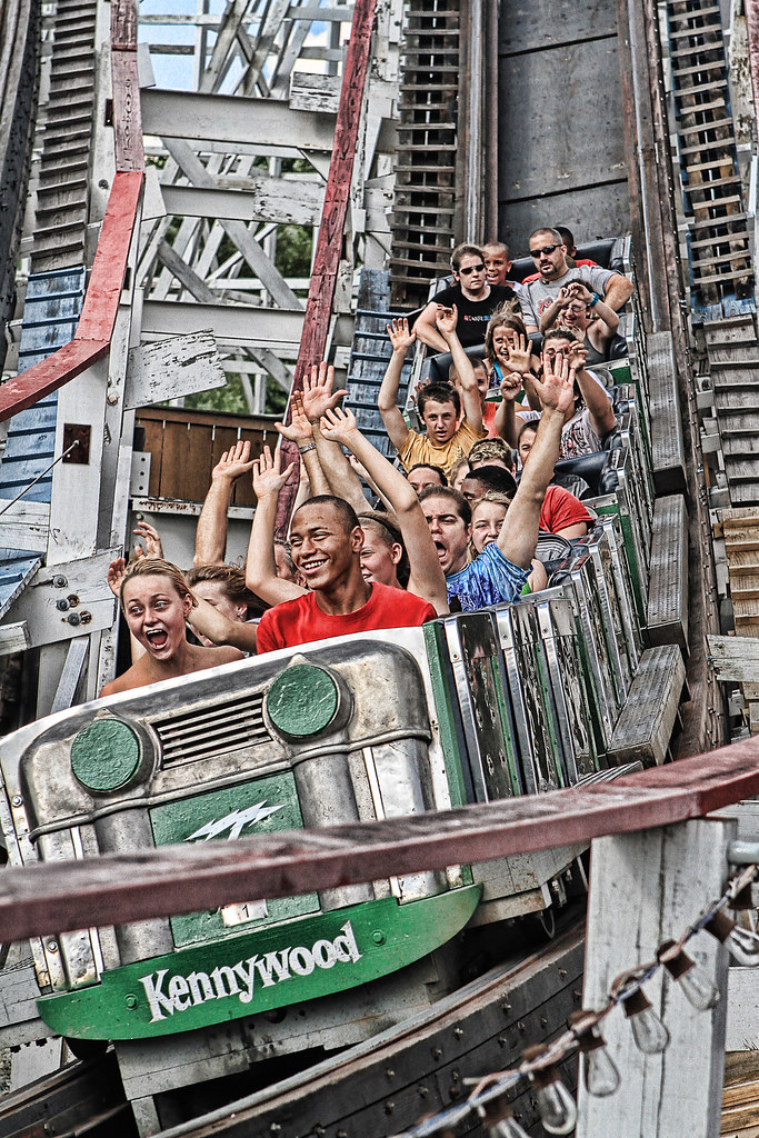 The Thunderbolt at Kennywood | Lots of hands in the air