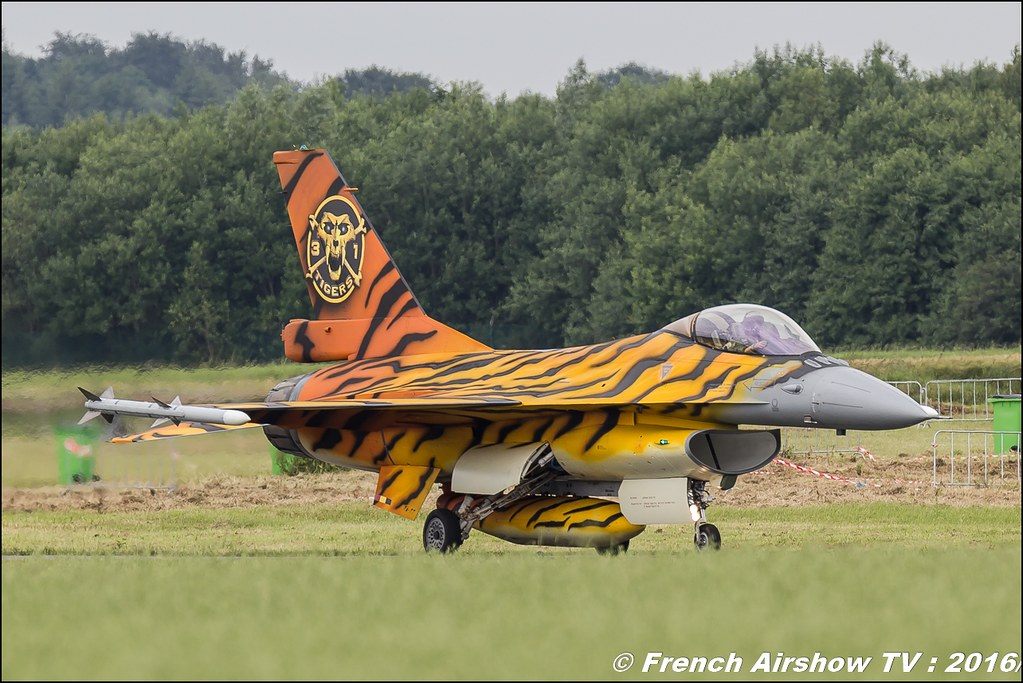 F-16 Fighting Falcon – 31 Tiger squadron 31st Sqdn Tiger FA-77 , NTM 2016 ,Belgian Air Force Days 2016 , BAF DAYS 2016 , Belgian Defence , Florennes Air Base , Canon lens , airshow 2016