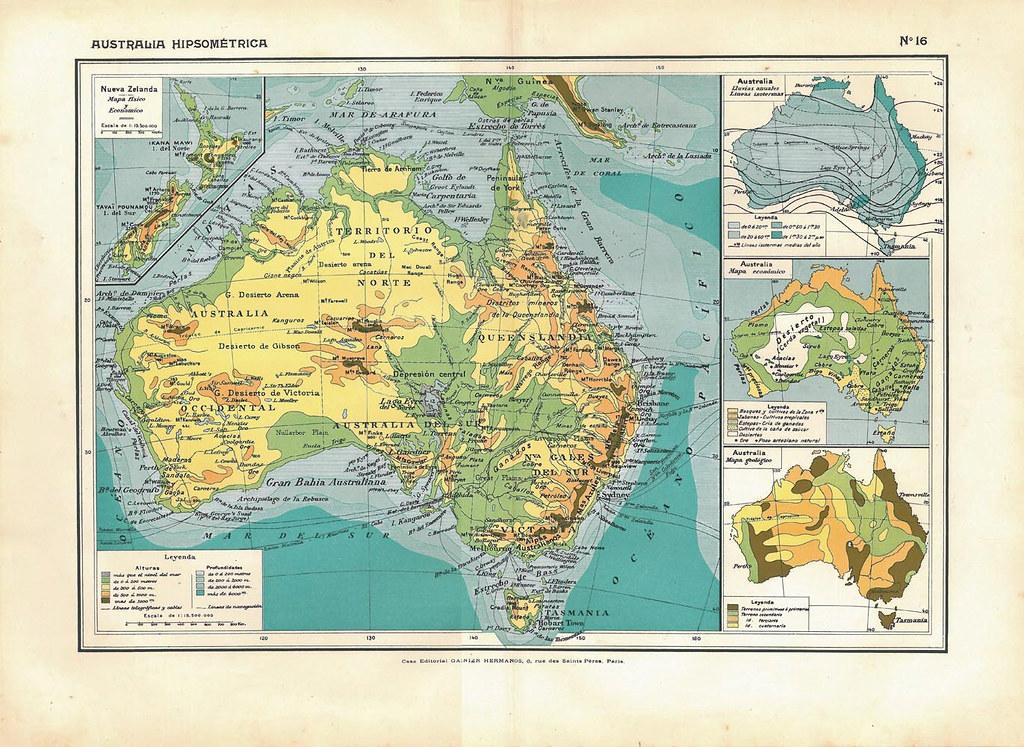 Australia Physical Map Vintage 1910s Home Decor To Frame