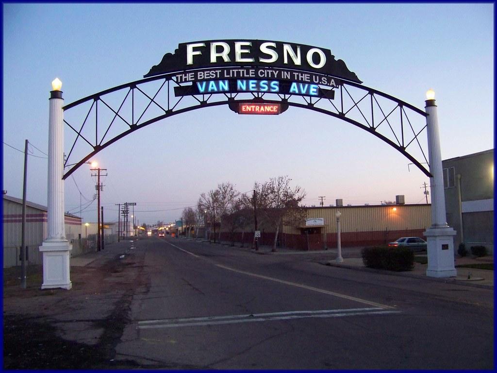Fresno Welcome Arch Over Van Ness Avenue , Fresno ,Ca Thi -2074