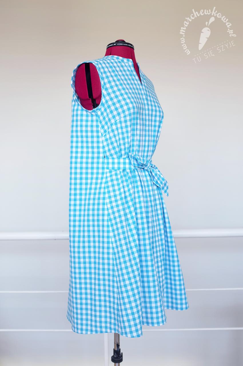 marchewkowa, szycie, sewing, moda, fashion, retro, vintage, lata '50, 1950s, bag dress, Gingham, sukienka, kratka vichy, błękit, baby blue, wykrój, pattern, Burda 8/2016, Wrocław szyje