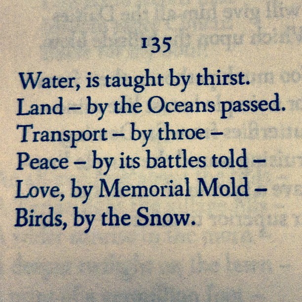 emily dickinson water is taught by thirst