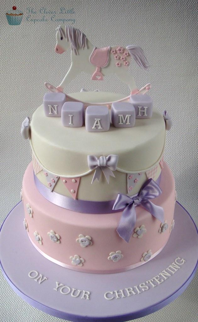 Rocking Horse Christening Cake Bottom Tier Is Vanilla