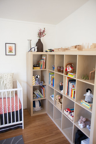 Bookshelves re-purposed for the nursery | by Design Nomad